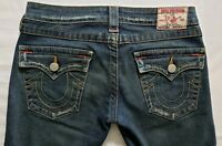 True Religion Joey Womens Denim Blue Jeans Size 27 x 34 Flare Med Wash Flap EUC