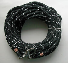 """3/8"""" x 115 ft. Dacron/Polyester Halyard, Spliced in S/S Snap Shackle blk/wh"""