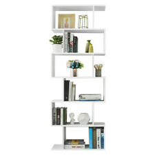 6 Layers Vertical Book Shelves Nordic Style Book Rack Furniture (White)