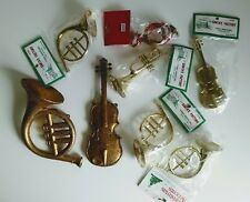 Vintage Set of 8 Instrument Ornaments Classic Hard Plastic Gold Tone horn violin