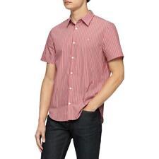 Calvin Klein Mens Red Striped Collared Button-Down Shirt S BHFO 2859