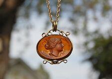 "Amber Glass Intaglio Cameo Pendant Antique Gold Fill 24"" Rope Chain 1""x3/4"" Oval"