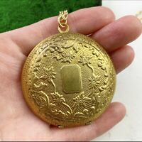 OVERSIZED VINTAGE LOCKET NECKLACE PENDANT VICTORIAN REVIVAL NOS COSTUME JEWELRY