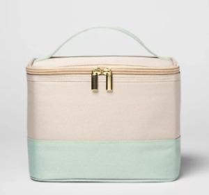 NWT Opalhouse - Zip Around Lunch Bag Tote Box Mint Green/Beige