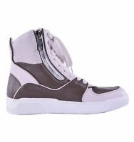 DOLCE & GABBANA High-Top Sneaker with Double Zip Beige Brown Made in Italy 04630
