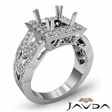 18k White Gold 1.25Ct Halo Princess Semi Mount Designer Diamond Engagement Ring