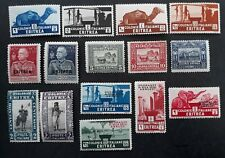 RARE 1910- Italian Eritrea lot of 16 Pictorial Italian stamps with O/P Mint
