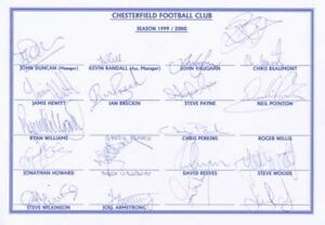 Chesterfield FC - Signed Team Sheet - COA (14917)