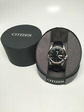 Citizen Quartz Gents Stainless Steel Leather Band; NWOT