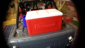 1:18 Scale Model Red Cooler For RC Micro Crawler Garage Accessory Free Ice!
