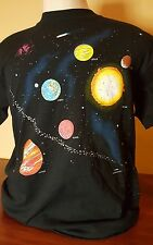 VTG 90s Solar System Astronomy T-Shirt Tee LARGE Saturn Science Galaxy Black
