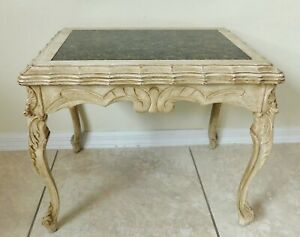 Beautiful Antique/Vtg Small Carved Wood Black Marble Top Side/End Accent Table
