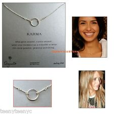 """Dogeared Sterling Silver ORIGINAL KARMA Circle 16"""" Length Necklace with Pouch"""