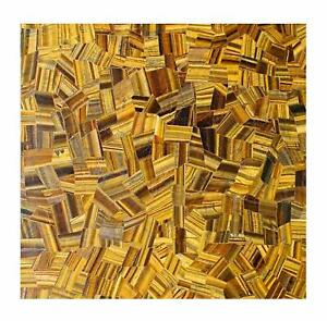 "30"" Marble room kitchen Table Top handicraft Tiger eye Inlay Pietra Dura Decor"