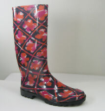 NEW BURBERRY Carleton Check Orange Pink Floral Tall Rubber Rain Boot EU 41/US 11