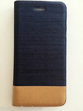 """iPhone 6 iPhone 6S 4.7"""" Cool Blue Denim Texture Wallet Cover Case"""