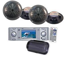 "New Pyle PLDMR3U Marine AM FM DVD Weatherband Receiver +4 x-5.25"" Black Speakers"
