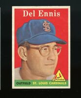 1958 Topps BB Card # 60 Del Ennis St. Louis Cardinals NM-MT OR BETTER