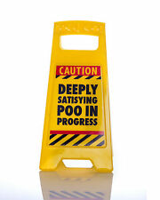DEEPLY SATISFYING POO in progress DESK SIGN Yellow 25cm fun office gift New