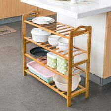 4-Tier Bamboo Shoe Shelf Rack Bench Storage Organizer Entryway Home Furniture
