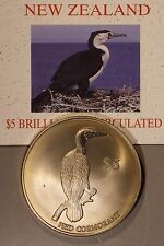2000 New Zealand Reserve Bank, $5 BU Pied Cormorant Coin** FREE U.S. SHIPPING **