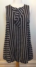 MAD CORTES Grey White Brown Stripe Sleeveless Frill Front Long Bubble Hem Top 12