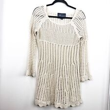 Paper Crane Size S Small Beige Long Sleeve Tunic Crochet Knit Womens Casual