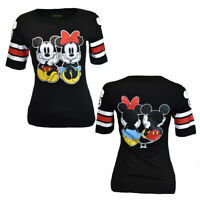 Mickey & Minnie Mouse Junior Tee T-shirt  Disney Love Tee Cotton NEW S-XL BLACK