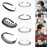 Men's Womens Black Sports Wave Style Hair Band Metal Hairband Headband Headwear