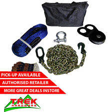 RECOVERY KIT, BOW SHACKLE STRAP WINCH GLOVES EXTENSION BAG SNATCH BLOCK
