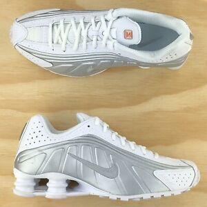 Nike Shox R4 White Metallic Silver Bright Crimson Casual Shoes 104265-131 Size