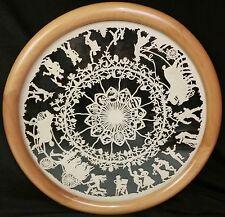 Tray zodiac wood silhouette cutout 20 farmers dancing plowing wreath flowers