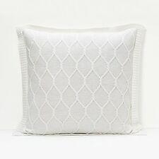 Sferra Orazio White Decorative Pillow Cover Lattice Design Knit 100% Cotton NEW