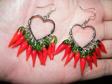 RED HEART EARRINGS GLASS CHILI PEPPERS FILIGREE Cinco De Mayo SILVER EAR WIRES!