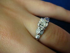 14K WHITE GOLD 0.20 CT. T.W. DIAMONDS SMALL ENGAGEMENT RING 2.9 GRAMS