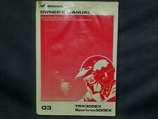 Honda 03 TRX 300EX Factory Owners Manual TRX300EX. Owner + Many more