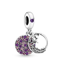 Pandora Authentic Silver S925 Purple Pavé & Feather Dangle  Charm 799561