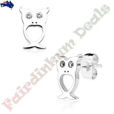 Pair Of 316L Surgical Steel Silver Ion Plated Owl With CZ Gem Eyes Stud Earrings