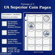 3 Superior 30 Pocket Coin Pages, Large Coins - Halves, Dollars, Money Collection