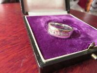 Schöner 925 Silber Ring Zirkonia Wie Diamant Breit Schlicht Funkelnd Vintage Top