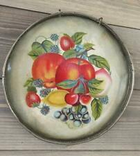 Old Antique Victorian Glass Kitchen Flue Cover? Paper Tray with Fruit Cherries