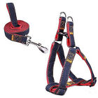 No Pull Dog Harness and leash. Denim.  Adjustable.  Many sizes