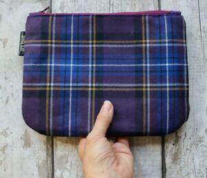 Scottish Tartan Makeup Bag. Purple Plaid Cosmetic Bag Zipper Pouch. Pure Wool.