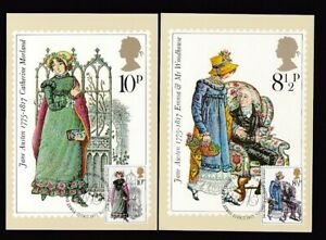 GB QE2 PHQ 1975 Jane Austen set 4 with stamps & special cancels .. slight faults