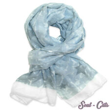 Pañuelo en Óptica de Jeans Con Estrellas y brillante en azul claro/blanco