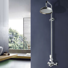 Traditional Thermostatic Shower Valve Chrome Overhead Rain Mixer Bathroom Kit