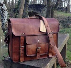 Distressed Vintage Hiking Genuine Brown Leather Messenger Laptop Briefcase Bag