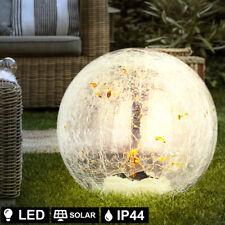 LED Solar Steck Leuchte rost Glas Strahler Crackle Kugel Lampe Garten Deko Blume