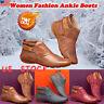 Womens PU Leather Flat Heel Ankle Boots Ladies Casual Hook Loop Winter Shoes US