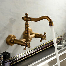 Vintage Antique Brass Wall Mount Bathroom Tub Sink Swivel Dual Handle Faucet Tap